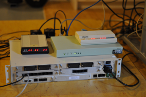 Picture of the physical setup for dial-in server management.